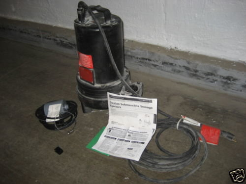 1HP Dayton Submersible Sewage Ejector