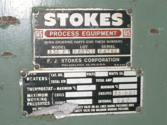 STOKES VACUUM OVEN HAVING A