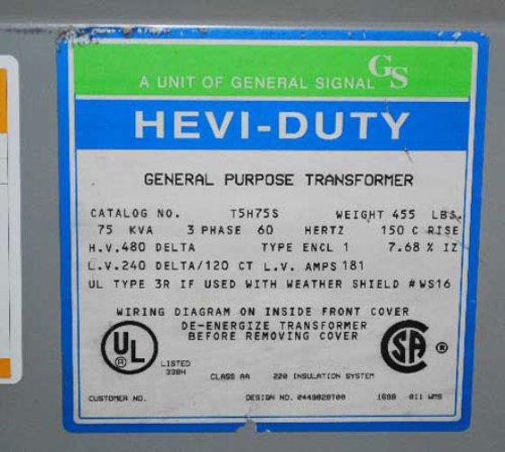 75 Kva Pri 480 Sec 240 Volts Hevi Duty General Purpose Transformer In North Branford Ct Usa