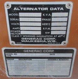 75 KW GENERAC / GM NATURAL GAS OR PROPANE GENERATOR in
