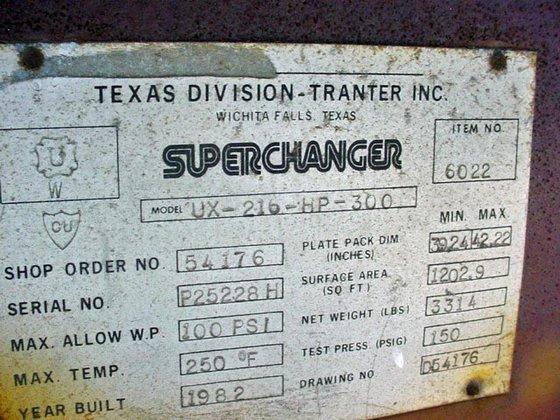 1982 SUPERCHANGER #UX-216-HP-300 PLATE EXCHANGER