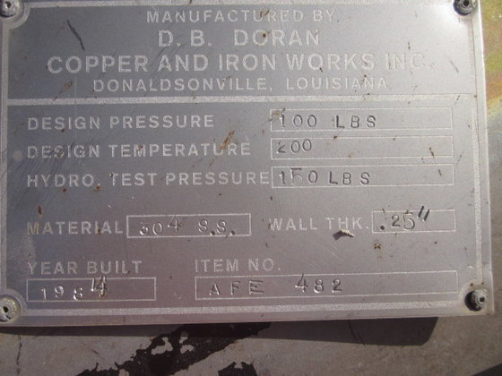 1984 COPPER IRON WORKS REACTOR/VESSEL