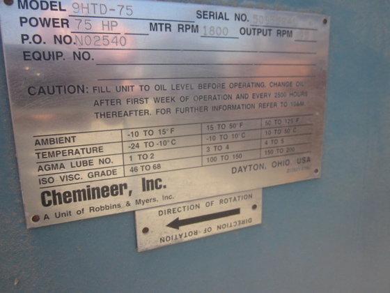 CHEMINEER 9HTD-75 TOP MOUNTED AGITATOR