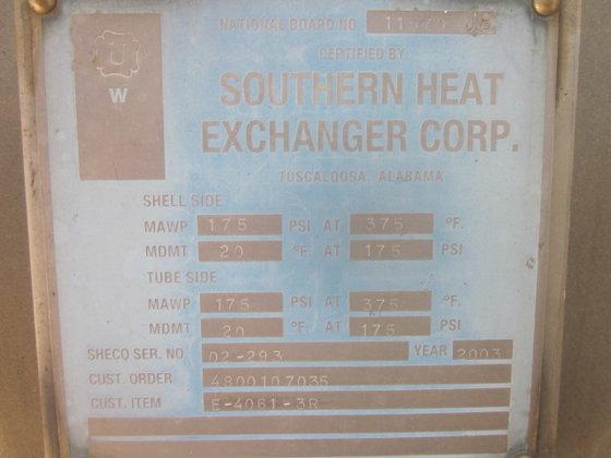 2003 SOUTHERN HEAT EXCHANGER MEOH