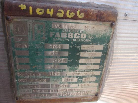 1990 FABSCO VACUUM STRIPPER REBOILER