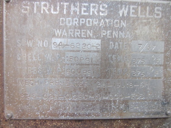 STRUTHERS WELLS METHANOL PREHEATER in