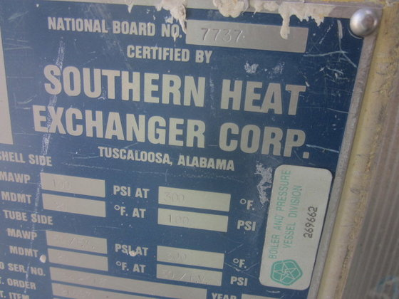 1994 SOUTHERN HEAT EXCHANGER STRIPPER
