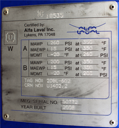 2008 ALFA-LAVAL PLATE HEAT EXCHANGER