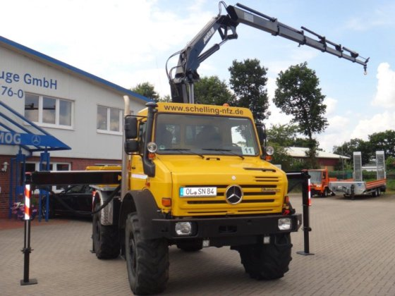 2009 Unimog U 5000 MKG crane HLK 138HP I can rent one in Wardenburg, Germany
