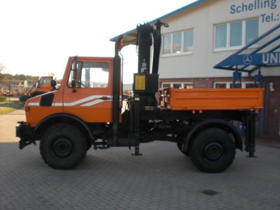 1991 Unimog U 1250 crane MKG HLK95a3 I can rent one in Wardenburg, Germany