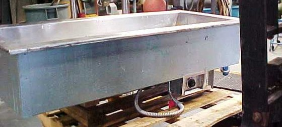 35 gallon.rectangular.electrically heated stainless steel