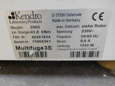 19000 Rpm Kendro Laboratory Products Lab Equipment #220262 in West