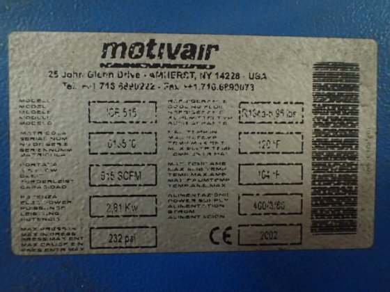 2002 515 CFM Motivair Refrigerated Air Dryer, Model ICE515 in