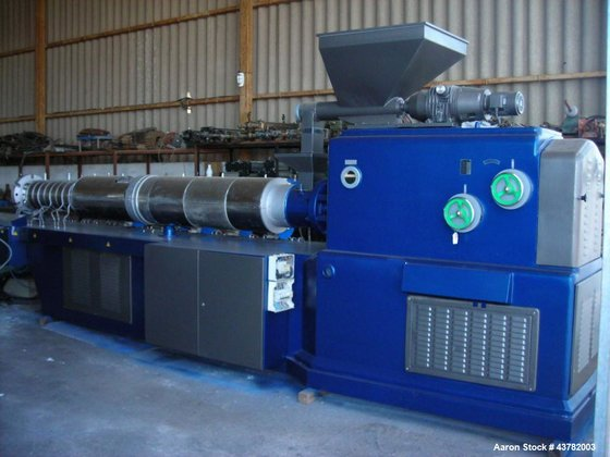 Used-Bausano Counter-Rotating Twin Screw Extruder.