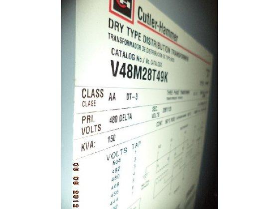 CUTLER HAMMER TRANSFORMERS,150 KVA, V48M28T49K,