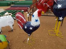 METAL 3' ROOSTER, RED, WHITE &