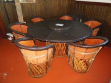 "(1) 36""x29"" round table with ro"