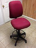 Adjustable Lab Stool (Red Fabri