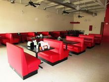 Red Vinyl Booths and Tables Set