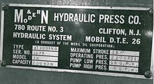 MODERN HYDRAULIC PRESS CO. M &