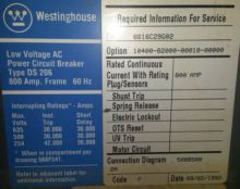 800 Amp, WESTINGHOUSE, DS-206,