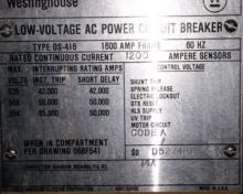 1600 Amp, WESTINGHOUSE, DS416,