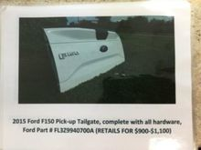 2015 Ford F150 tailgate