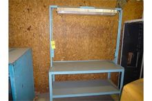 All metal work bench with overh