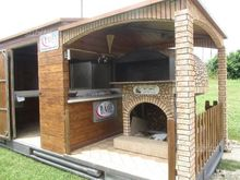 Truck food pizzeria with a wood