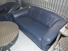 Leather sofa blue # 71780
