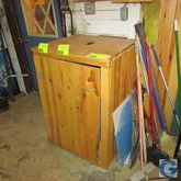 Wood trash receptacle cabinet