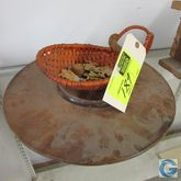 """17"""" wood lazy susan and wicker"""