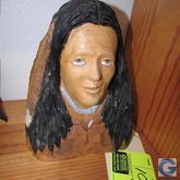 """10"""" carved wood Indian woman bu"""