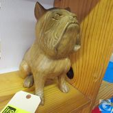 """11"""" carved wood bull dog, by Sl"""