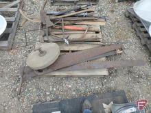 Hand tools: axe, pickaxe, wood