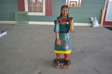 "40"" HIGH TEAK WOOD INDIAN WOMAN"