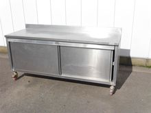 stainless steel table with stor