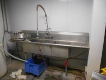 Three basin stainless steel sin