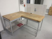 Global L-Shaped Wood Top Table