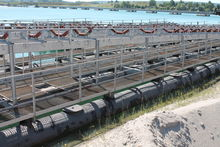 Conveyor belts on pontoon