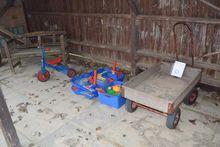 Bench, 3 wheel bike, trolley +