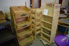 Various racks, wooden crates (A