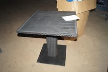 Wood cafe table with wicker. (A