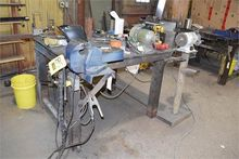 steel work table with vice
