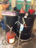 LOT OF FUNNEL AND DRUMS, 5GAL.
